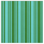 [ Thumbnail: Turquoise & Dark Green Lined/Striped Pattern Fabric ]