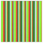 [ Thumbnail: Turquoise, Dark Green, Red, and Chartreuse Lines Fabric ]