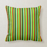 [ Thumbnail: Turquoise, Dark Green, Red, and Chartreuse Lines Throw Pillow ]