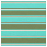 [ Thumbnail: Turquoise, Dark Olive Green, and Beige Stripes Fabric ]