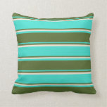 [ Thumbnail: Turquoise, Dark Olive Green, and Beige Stripes Throw Pillow ]