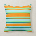 [ Thumbnail: Turquoise, Dark Orange, Dark Cyan & Light Green Throw Pillow ]