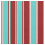 [ Thumbnail: Turquoise, Dark Red, and White Colored Stripes Fabric ]