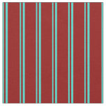 [ Thumbnail: Turquoise & Dark Red Striped Pattern Fabric ]