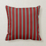 [ Thumbnail: Turquoise & Dark Red Striped Pattern Throw Pillow ]