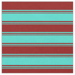 [ Thumbnail: Turquoise & Dark Red Stripes/Lines Pattern Fabric ]