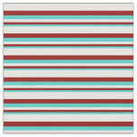 [ Thumbnail: Turquoise, Dark Red & White Colored Stripes Fabric ]