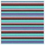 [ Thumbnail: Turquoise, Dark Slate Blue, Cyan, Dark Red & Black Fabric ]