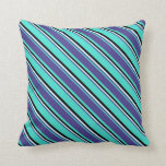 [ Thumbnail: Turquoise, Dark Slate Blue, Light Cyan, and Black Throw Pillow ]