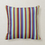 [ Thumbnail: Turquoise, Dark Slate Blue, Maroon & Dark Khaki Throw Pillow ]