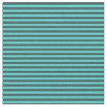 [ Thumbnail: Turquoise & Dark Slate Gray Lined Pattern Fabric ]