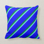 [ Thumbnail: Turquoise, Dark Turquoise, Green & Blue Pattern Throw Pillow ]