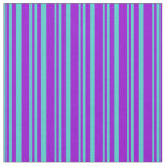 [ Thumbnail: Turquoise & Dark Violet Colored Lined Pattern Fabric ]