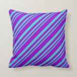 [ Thumbnail: Turquoise & Dark Violet Colored Lined Pattern Throw Pillow ]