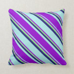 [ Thumbnail: Turquoise, Dark Violet, Light Green, Midnight Blue Throw Pillow ]