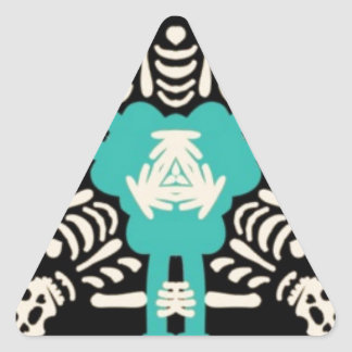 Turquoise Day Of the Dead Cheer Pyramid Triangle Sticker