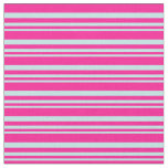 [ Thumbnail: Turquoise & Deep Pink Colored Stripes Fabric ]