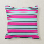 [ Thumbnail: Turquoise, Deep Pink & Dark Slate Gray Colored Throw Pillow ]