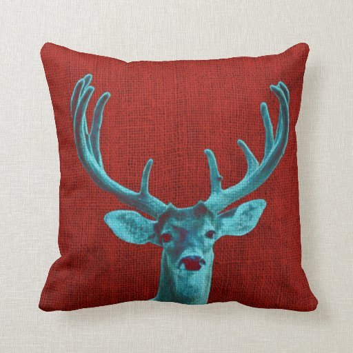 Throw Pillows With Deer : Turquoise Deer and Rustic Red Throw Pillows Zazzle