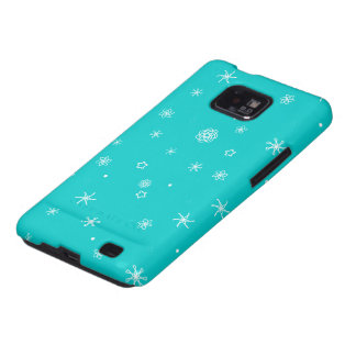 Turquoise Delicate Snowflake design Galaxy S2 Cases