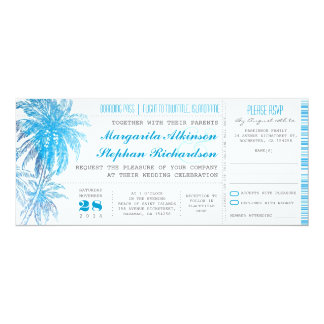 turquoise destination wedding tickets 4x9.25 paper invitation card