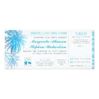 turquoise destination wedding tickets 4x9.25 paper invitation card (<em>$2.41</em>)