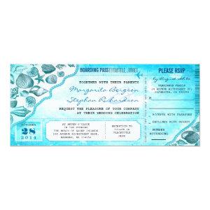 turquoise destination wedding tickets invitations 4
