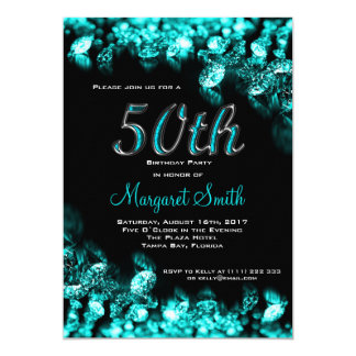 Turquoise Diamond 50th Birtday Party Invite