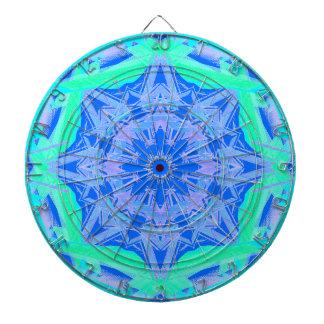Turquoise Diamond Geometric Abstract Art Darts 2 Dartboard With Darts
