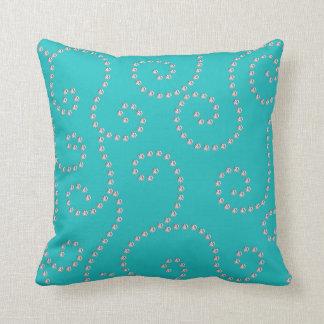 turquoise diamond swirls throw pillow