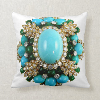 Turquoise Diamonds Brooch Sofa Bling Jewelry Throw Pillow
