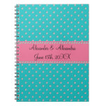 Turquoise diamonds wedding favors spiral notebook