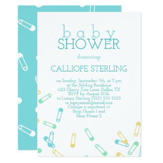 Turquoise Diaper Pins Baby Shower Invitation