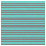 [ Thumbnail: Turquoise & Dim Gray Colored Stripes Fabric ]