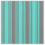 [ Thumbnail: Turquoise & Dim Grey Lines Fabric ]