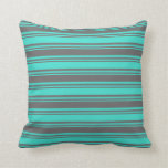[ Thumbnail: Turquoise & Dim Grey Lines Throw Pillow ]