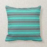 [ Thumbnail: Turquoise & Dim Grey Lines Throw Pillow ]