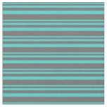 [ Thumbnail: Turquoise & Dim Grey Striped Pattern Fabric ]