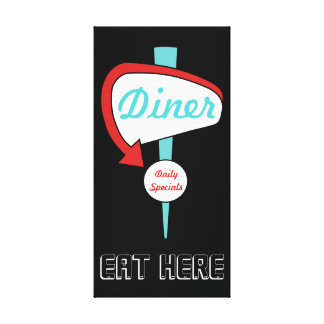 Turquoise Diner Sign Canvas