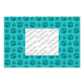 Turquoise dog paw print pattern photo print