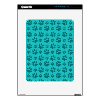 Turquoise dog paw print pattern skins for iPad