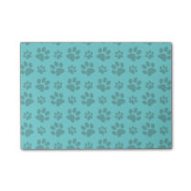 Turquoise dog paw print post-it notes