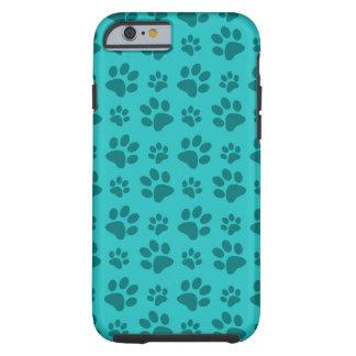 Turquoise dog paw print tough iPhone 6 case
