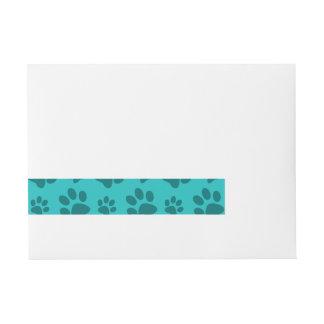 Turquoise dog paw print wrap around address label
