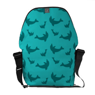 Turquoise dolphin pattern messenger bags