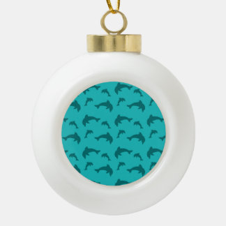 Turquoise dolphin pattern ornament