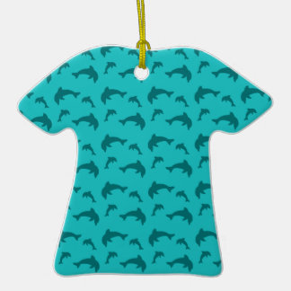 Turquoise dolphin pattern christmas tree ornaments