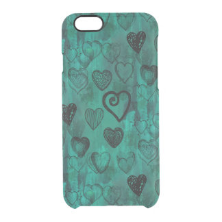 Turquoise Doodle Grunge Hearts Clear iPhone 6/6S Case