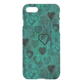 Turquoise Doodle Grunge Hearts iPhone 7 Case