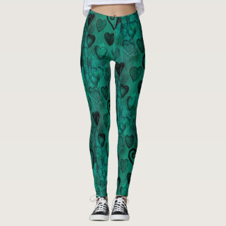 Turquoise Doodle Grunge Hearts Leggings